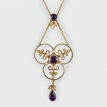Edwardian Amethyst and Pearl Floral Necklace in 9ct Gold