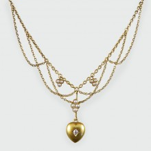SOLD Edwardian Diamond and Seed Pearl Swag Necklace in 15ct Gold