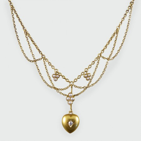 929b1cca6d418 Edwardian Diamond and Seed Pearl Swag Necklace in 15ct Gold