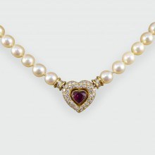 SOLD Contemporary Diamond and Ruby Heart Clasp Pearl Necklace