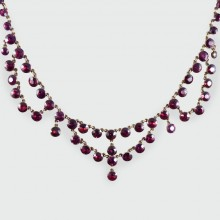 SOLD Antique Victorian Bohemian Garnet Gold Necklace