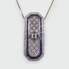 Contemporary Sapphire and Diamond Pendant 18ct on an 18ct White Gold Chain