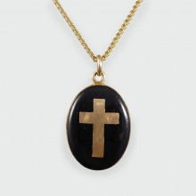 Antique Late Victorian Cross Mourning Locket and chain in 9ct Gold
