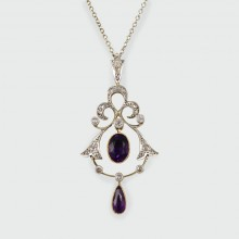 SOLD Elegant Edwardian Amethyst and Diamond Necklace