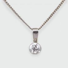 Art Deco 0.85ct Diamond Pendant on a Contemporary 18ct White Gold Chain