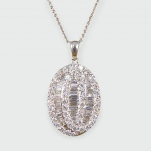 SOLD Contemporary Oval 1.50ct Diamond Necklace in 18ct White Gold with Chain