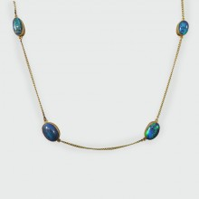 Edwardian Long 15ct Yellow Gold Chain Necklace with Four Black Opal Stones