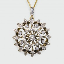 Antique Late Victorian Diamond Floral Pendant on 15ct Gold Chain