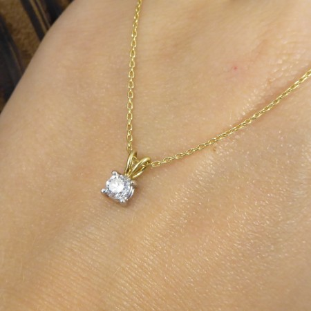 Contemporary 0.25ct Diamond Stud Pendant on 9ct Yellow Gold Chain