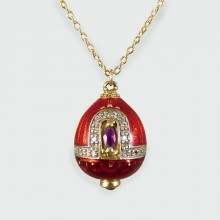 Ruby and Diamond Set Vintage Red Enamel and Gold Egg Necklace