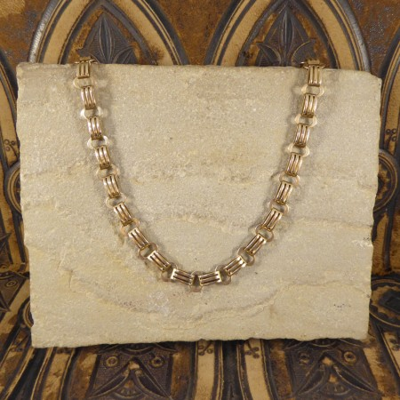 Edwardian Fancy Link 9ct Yellow Gold Double Clasp Necklace