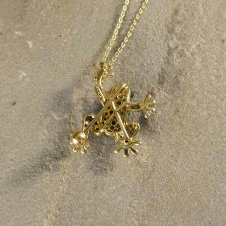 Contemporary Sapphire and Champagne Diamond Frog Pendant Brooch on 9ct Yellow Gold Chain