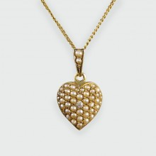 Dainty Edwardian 9ct Gold Heart Necklace set with Diamonds and Pearls