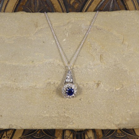 Antique Late Victorian Edwardian Sapphire and Diamond Drop Pendant on a 18ct White Gold Chain