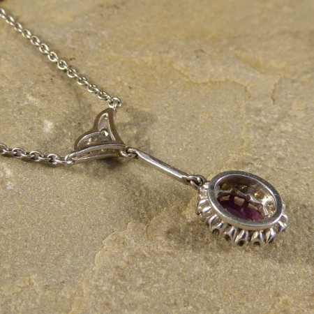 Edwardian Ruby and Diamond Cluster Drop Pendant with a 18ct White Gold Chain