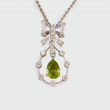Contemporary Pear Shaped Peridot and Diamond Halo Drop Necklace in 18ct White Gold