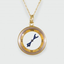 SOLD Antique Edwardian Compass 18ct Yellow Gold Pendant on 9ct Yellow Gold Chain