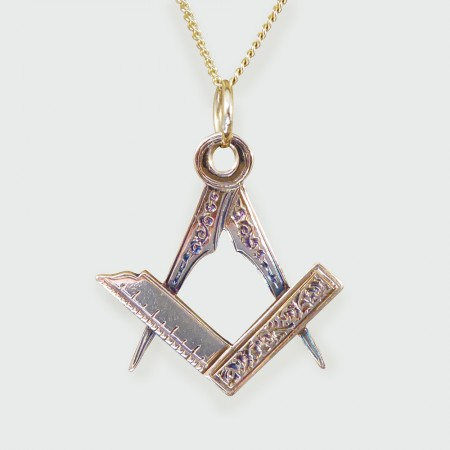 1900s 15ct Yellow Gold Masonic Pendant on a 9ct Yellow Gold Chain