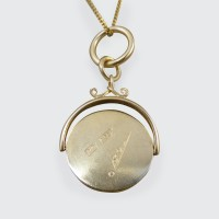 Edwardian Masonic Spinner 18ct Yellow Gold Pendant on 9ct Yellow Gold Chain