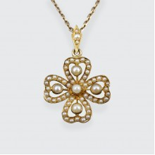 Edwardian Seed Pearl Clover 15ct Gold Pendant on 9ct Gold Chain
