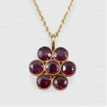 SOLD Edwardian Garnet Flower Pendant in 9ct Yellow Gold on New Chain