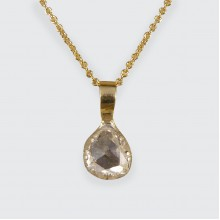 Late Georgian Rose Cut Diamond Pendant in Modern Bail and 18ct Yellow Gold Chain