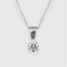 Contemporary 0.66ct Modern Brilliant Diamond Pendant on 9ct White Gold Chain