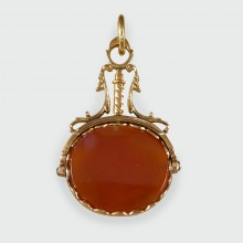 SOLD Antique Georgian Agate Watch Fob Pendant in 15ct Gold