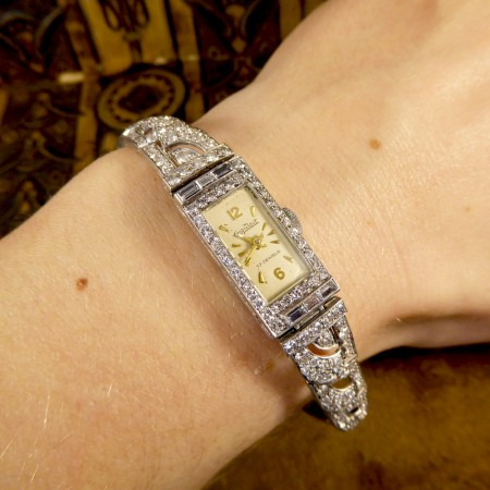 Stunning Art Deco 2ct Diamond Platinum Working Exquisite Watch
