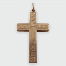 SOLD Edwardian Detailed Engraved Cross Pendant in 9ct Gold