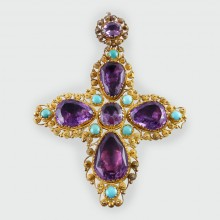 SOLD Georgian Amethyst and Turquoise Gold Cross
