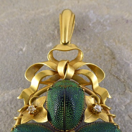 SOLD Scarab Beetle and Diamond set Gold Pendant retailed by Garrard and Co