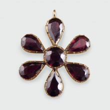 SOLD Antique Garnet Flower Pendant set in Gold