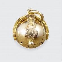 SOLD Vintage Masonic Orb Folding Out Pendant in Gold and Silver