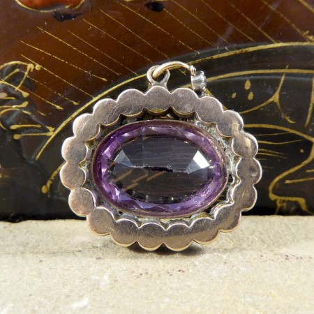 Early Victorian Amethyst and White Paste Gold Backed and Silver Fronted Pendant