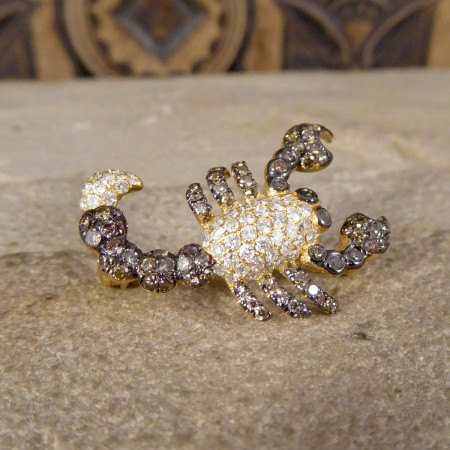 Contemporary Chocolate and White Diamond set Scorpion Pendant Brooch in 18ct Yellow Gold
