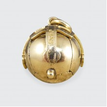 Large Vintage Masonic Folding Orb Gold Pendant in Silver and Gold