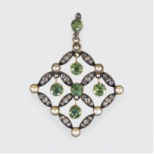 Antique Edwardian Peridot Pearl and Diamond Pendant in Gold and Platinum