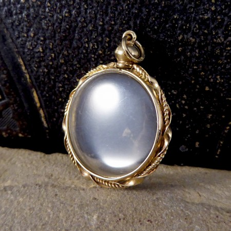SOLD Vintage Double Sided Clear Locket with 9ct Yellow Gold