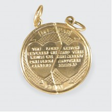 SOLD Quality MIZPAH Prayer Two Half Coin Charm Pendant in 9ct Yellow Gold