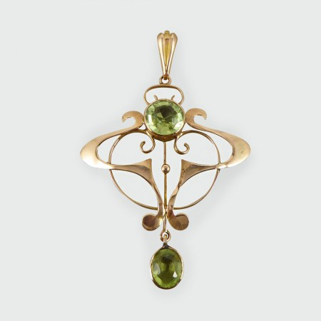 Art nouveau peridot pendant modeled in 9ct gold sold art nouveau peridot pendant modeled in 9ct gold aloadofball Image collections