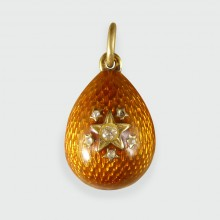 Russian Vintage Star Silver Gilt Egg Pendant Charm