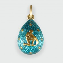 SOLD Russian Vintage Turquoise Star Aquarius Zodiac Silver Gilt Egg Pendant Charm