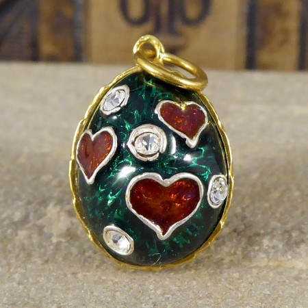 Vintage Green and Red Heart Silver Gilt Pendant Charm