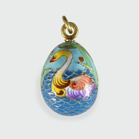 Russian Vintage Swan Silver Gilt Egg Pendant Charm