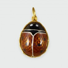 Vintage Lady Bird Silver Gilt and Enamel Pendant Charm
