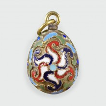 Russian Vintage Colour Enamel and Silver Gilt Egg Pendant Charm