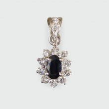 Contemporary Sapphire and Diamond Cluster Drop Pendant in 18ct White Gold