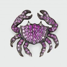 Contemporary Pink Sapphire and Diamond Crab Pendant and Brooch