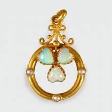 SOLD Opal and Pearl Edwardian Pendant set in 15ct Yellow Gold